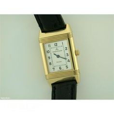 Ladies Jaegar Le Coultre Reverso 18ct gold manual on strap #watches #fashion #jeweller #JaegerleCoultre