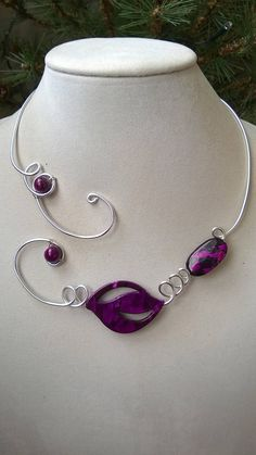 Leaf Sterling Silver Long Sweater Chain Y Necklace Lariat Vertical Bar Cylindrical Necklace - Top Drawer Jewelry Purple Necklace, Purple Jewelry, Funky Jewelry, Wire Necklace, Collar Necklace, Metal Jewelry, Boho Jewelry, Sterling Silver Jewelry, Wire Bracelets