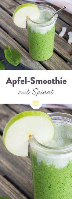 Unten Spinat, oben Apfel und dazwischen ein Schuss kräftiger Kokosmilch. Ein herrliches Farbenspiel, der dir den nächsten Urlaub näher bringt.