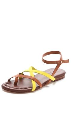 Two Tone Strappy Flats / Matt Bernson  Visit:  http://fashionartist.org/  Like share and repin :)