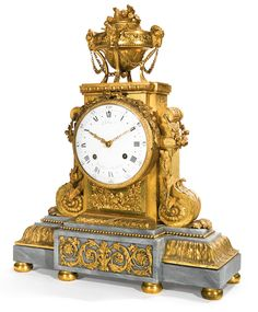A LOUIS XVI ORMOLU MANTEL CLOCK CIRCA 1786, DIAL SIGNED ROBIN AUX GALERIES DU LOUVRE, THE MOVEMENT SIGNED ROBIN A PARIS the ormolu struck with the number 1275 underneath crowned EL Robert Robin (1741-1799), recorded at the Galeries du Louvre from 1786 height 25 in.; width 20 in.; depth 7 in.
