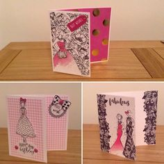 Cards created with papers using the Fashionista collection from @craftworkcards