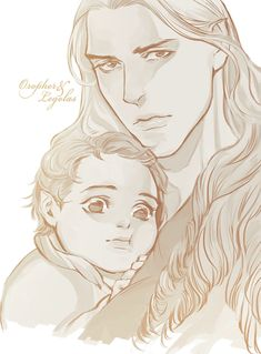 Oropher and Legolas - Grandfather and grandson (art by: ???)