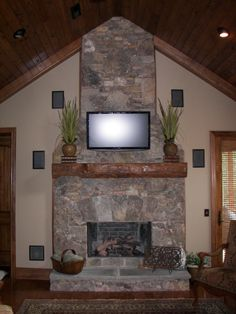 Rock Fireplace w/ Timber Mantle