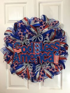 of July God Bless America Wreath, Labor Day Wreath, Military Wreath, by TiraMercantile on Etsy Patriotic Wreath, Patriotic Crafts, Patriotic Decorations, 4th Of July Wreath, Wreath Hanger, Diy Wreath, Easter Wreaths, Holiday Wreaths, Military Wreath