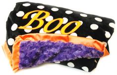 Halloween Blanket is a must in your house for the holidays!!  Love this Boo Blanket!!