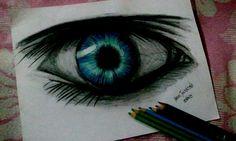 'Eye' am feelin blue. #art #eyes #blue #drawing