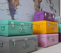 Suitcases in color.