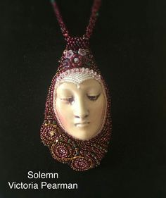 Solemn, a bead embroidered pendant. Bead Embroidery Jewelry, Beaded Embroidery, Beaded Jewelry Designs, Jewelry Ideas, Beaded Bags, Beading Projects, Faces, Pendants, Statement Necklaces