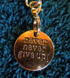 Bridle charm, Never Never give up, gold tone by MHAFARMS on Etsy