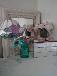 Mirrored jewelry box.