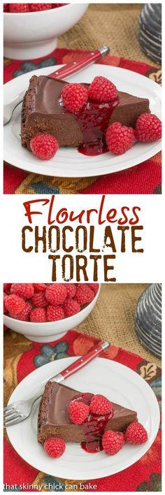 Chocolate Torte | A decadent flourless chocolate torte topped with ganache @lizzydo