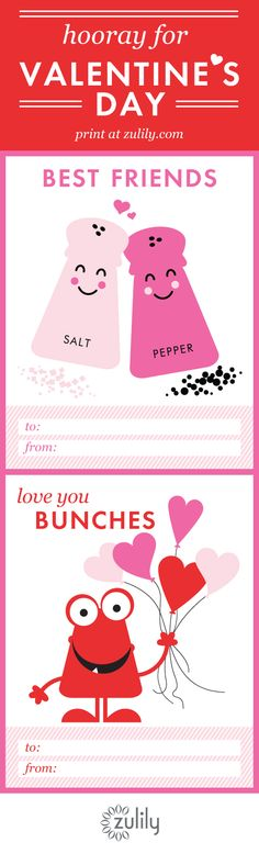 ♥ Free printable valentines from #zulily!