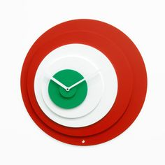Target Wall Clock Italy now featured on Fab.A hypnotic design for the color lovers among us, the Target Clock was originally designed by Alberto Sala for Progetti. Composed of six painted wood disks that alternate in color from red to white to green and a set of white hands, this dizzying design will undoubtedly mesmerize your mornings.