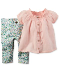 Carter's Baby Girls' 2-Piece Tunic & Floral-Print Jeggings Set - Baby Girl (0-24 months) - Kids & Baby - Macy's