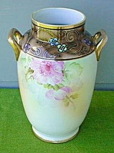 Lg. Beautiful Hand Painted Nippon Floral Vase