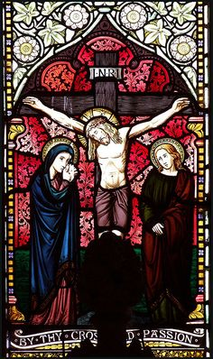 Stained Glass: The Crucifixion of our Lord and Savior Stained Glass Church, Stained Glass Lamps, Stained Glass Windows, Christian Artwork, Religion Catolica, Church Windows, Jesus Pictures, Sacred Art, Religious Art