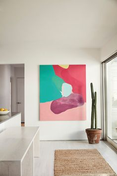 Tyler Haney Outdoor Voices Founder Interview, Home Tour Entry Way Design, Diy Wall Art, Diy Art, Wall Decor, Affordable Art, Architectural Digest, Large Art, Painting Inspiration, Color Inspiration