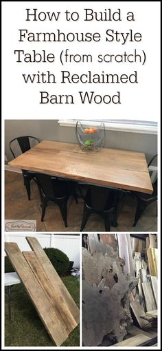 See how we built a farmhouse style kitchen table with reclaimed barn wood and industrial steel pipe legs.