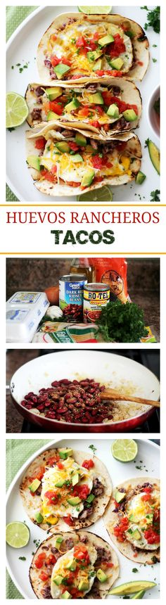 Huevos Rancheros Tacos - Soft tortillas stuffed with homemade refried beans, eggs, green chilies, tomatoes, cheese and diced avocados. Mexican Food Recipes, Vegetarian Recipes, Cooking Recipes, Vegetarian Tacos, I Love Food, Good Food, Yummy Food, Tasty, Brunch Recipes