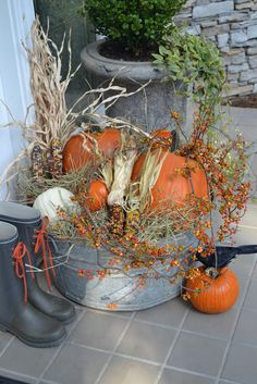 Thanksgiving / Autumn - Galvanized tub overflowing with harvest bounty - (from threepixielane blog)