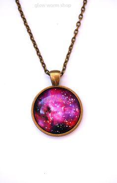 Space Dust Galaxy Necklace / Horsehead Nebula by glowwormshop, $20.00