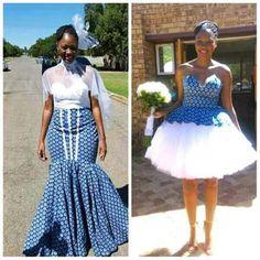Seshweshwe bride and bridesmaid