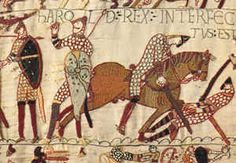 The Bayeux tapestry is not a woven tapestry, but a strip of linen 230 feet long and 20 inches wide on which many scenes are embroidered. One tradition holds that the embroidery was stitched by Queen Matilda, wife of William the Conqueror. Another says the work was commissioned by William's half-brother, Bishop Odo. This section of the tapestry depicts Harold II, the last Anglo-Saxon king of England, swearing an oath of loyalty to William, then duke of Normandy in 1064.