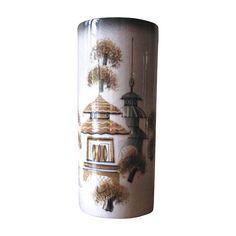 Vintage Sascha Brastoff Asian Theme Pagoda Vase in Black, Green & Gold at whimsicalvintage.rubylane.com