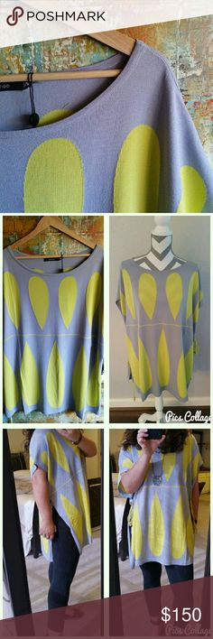 Vertigo deco teardrop top Boat neck, short sleeves, side cinching ties, 65% rayon, 35% nylon. Beautiful pop of color and perfect for ANY body type. Says S/M but I'm a size 10 and it fits very loose. Great alone or with layering. Vertigo Tops