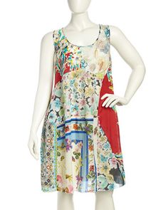 Sleeveless Patchwork Dress, Multi, Women\'s by Johnny Was at Neiman Marcus Last Call.