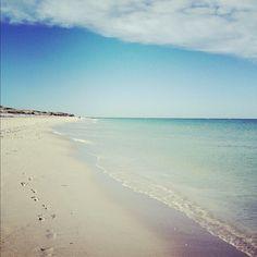 Blue ocean, blue sky.