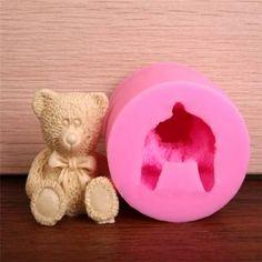 Precioso 3D del oso de peluche de silicona pasta de azúcar del molde del chocolate del jabón del molde
