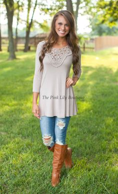 The Pink Lily Boutique - This Is Love Mocha Blouse Curvy , $34.00 (http://thepinklilyboutique.com/this-is-love-mocha-blouse-curvy/)
