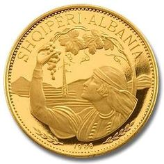 Albania 1968 100 Lekë Gold Proof Coin. The coin depicts a peasant girl in national dress. Small mintage of 3470 coins.