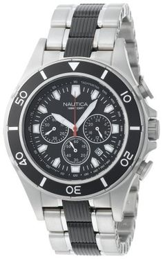 Nautica Men's N25006G Halyard Chronograph  Watch NAUTICA. $249.00. Analog-quartz movement. Case diameter: 49.73 mm. Water-resistant to 330 feet (100 M). Stainless-steel case; Black dial; Date function; Chronograph functions. Mineral crystal