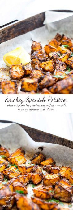 Crisp, smokey, with a touch of citrus, these Spanish potatoes are a great side dish or as an appetiser with drinks. As you spear your fork into the crisp shell you can just imagine sitting watching the sun set as you enjoy a cold beer in San Sebastián Mexican Food Recipes, Vegetarian Recipes, Cooking Recipes, Healthy Recipes, Spanish Food Recipes, Vegetarian Tapas, Spanish Dinner, Spanish Party, Spanish Potatoes