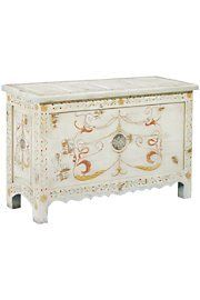 Painted Blanket Chest by Soft Surroundings. $428.95. In old Europe, wealthy families kept elaborate coffers to store their elegant linens and finer clothing. In colonial America, it was common to find a cedar chest at the ends of all the home's beds to store cozy blankets for the chilly nights. A spin on the tradition, our hand-painted chest combines the beauty and stability of solid mahogany with artistically rendered spiral motifs. It is then finished to antiqued perfecti...