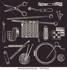 Hand drawn chalk stroked sewing and needlework related symbols - stock vector