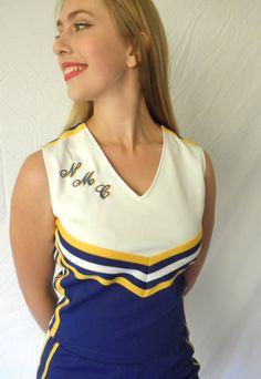 Vintage Dehen Cheerleader Top Monogrammed NMC Blue White Yellow Size 36 Sleeveless V Neck Halloween Costume Early 90s // Jackpot Jen by JackpotJen on Etsy