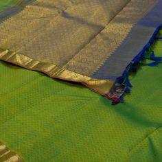 "The ""Green"" #handwoven Kanjivaram Silk Sari from Parisera is set off by a gold…"