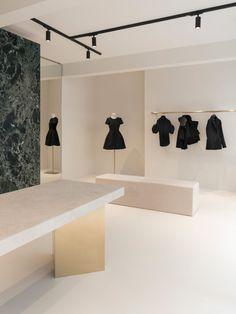 Dice Kayek's First Paris Boutique by Bernard Dubois Boutique Interior, Fashion Retail Interior, Barcelona Pavilion, Exposed Concrete, Retail Store Design, Velvet Curtains, Paris, Minimal Design, Interior And Exterior