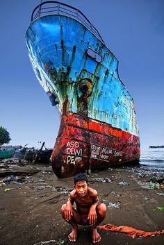 Abandoned Ship At Sea