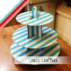 Round Cake stand, Cupcake Stand, Cake tower for teatime - #CS002 3 tier Stripes style with 3 color
