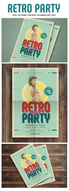 Retro Party Flyer Template PSD. Download here: https://graphicriver.net/item/retro-party-flyer/17497300?ref=ksioks