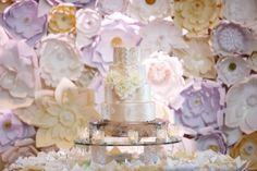 lisa stoner events- orlando luxury wedding planner- ritz carlton orlando grande lakes- paper flower wall - white wedding cake - lace applique with satin buttons. Paper Flower Wall, Paper Flowers, Luxury Wedding, Lace Wedding, Wedding Design Inspiration, Stoner, Lace Applique, Lakes, Wedding Designs