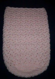 Cuddle Sack G or H hook 4 ply yarn Pattern stitch: 3 dc, ch 1 1 dc. Ch 4, sl st together to form ring, ch 2 or 3 , turn.(ch 2 or 3 al...