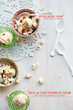 Twist on the trend: Dulce De Leche Popcorn Ice Cream with Almonds and Coconut // Hungry Girl Por Vida