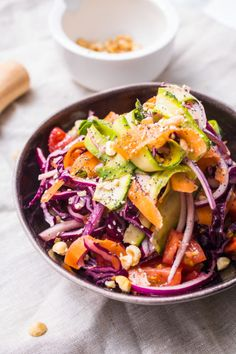 Red cabbage, tahini and maple slaw
