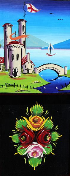 Nice mirroring of sky and water / really miss doing roses and castles… Castle Painting, Boat Painting, Painting On Wood, Canal Boat Art, Boat Illustration, Truck Art, Mural Art, Wall Murals, Painted Rocks